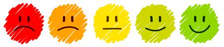 Set Of Five Handdrawn Faces Feedback Mood Color