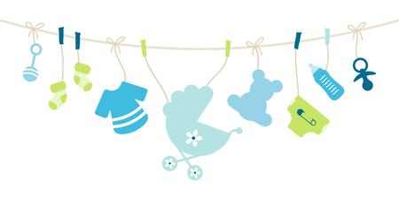 Iconos de bebé colgantes, lazo de niño azul y verde Ilustración de vector