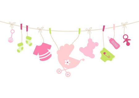 Hangende babypictogrammen meisje, strik roze en groen