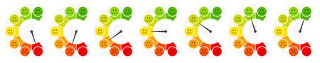 Seven Faces Color Barometer Public Opinion Vertical Illustration