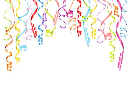 Horizontaler hängender Luftschlangen-Hintergrund mit verschiedenen Farben