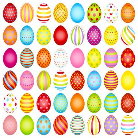 Set Of Slim Easter Eggs Color With Pattern Vettoriali
