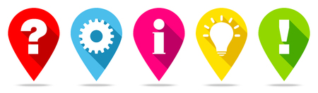 Set Of Five Pins Question Idea Information Work And Answer Color