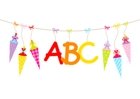 Hanging Colorful School Cornets And ABC Letters Banque d'images - 124099911