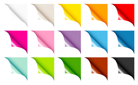 Set Of Fifteen Web Corners Full Color Angled Right Up