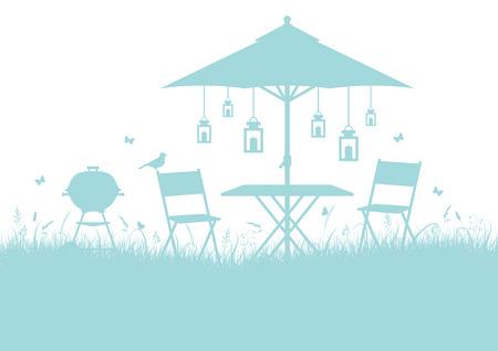 Summer Garden Barbecue Silhouette Horizontal Background Illustration