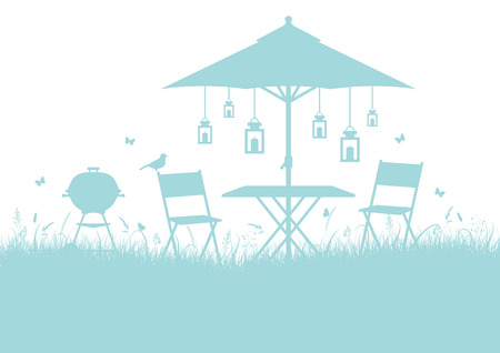 Summer Garden Barbecue Silhouette Horizontal Background