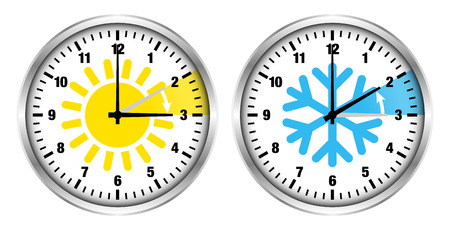 Silver Clocks Summer Time And Winter Time Icons And Numbers