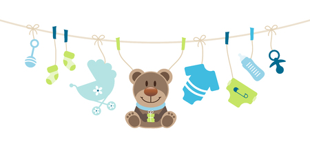 Hanging Baby Icons And Teddy Boy Bow Blue And Green