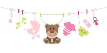 Hanging Baby Icons And Teddy Girl Pink And Green Bow