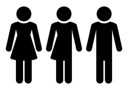 Set Of Three Black Figures Female Miscellaneous Male