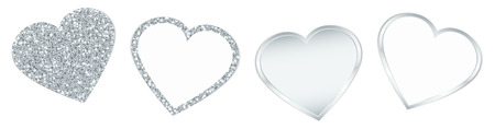 Set Of Four Silver Hearts Sparkling And Shining
