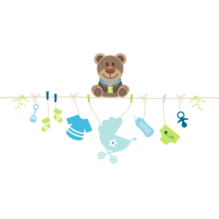 Teddy Sitting On String Holding Hanging Baby Icons Boy 矢量图像