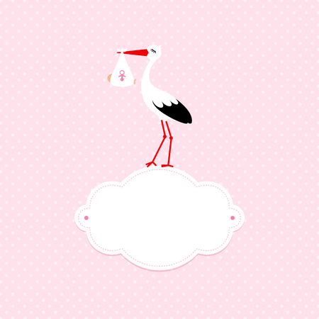 Baby Card Girl Stork On Cloud Dots Pink Background Illustration