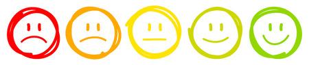 Zestaw pięciu ręcznie rysowanych twarzy o różnych nastrojach w kolorze