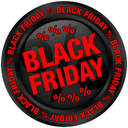 Round Button Black Friday Black And Red