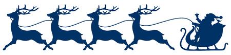 Dark Blue Christmas Sleigh Santa And Four Running Reindeer