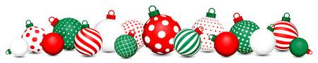 Banner Christmas Balls Pattern Red Green White