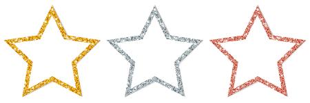 Set Of Three Framed Stars Sparkling Gold Silver Copper