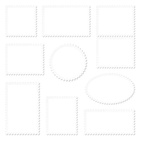 Set Of Nine Blank White Stamps Frame Ilustração