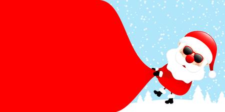 Santa Sunglasses Pulling Gift Bag Backwards Right Side Forest Blue
