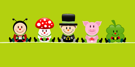 Green Banner Ladybug Fly Agaric Chimney Sweep Pig And Cloverleaf