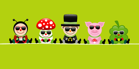 Green Banner Ladybug Fly Agaric Chimney Sweep Pig And Cloverleaf Sunglasses Çizim