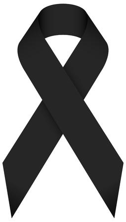 Single Isolated Black Mourning Ribbon Vektoros illusztráció