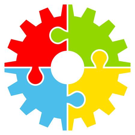Einzelnes isoliertes Grafikgetriebe mit vier Puzzleteilen Farbe