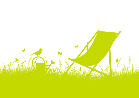 Summer Meadow Silhouette With Canvas Chair Green Banner Vector Illustration