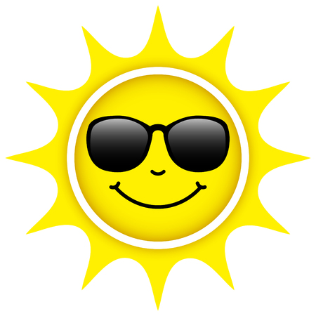 Single Isolated Yellow Sun With Sunglasses Happy Face