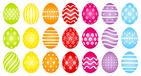 Set Of Twenty-One Colored Easter Eggs With Different White Patterns Vettoriali