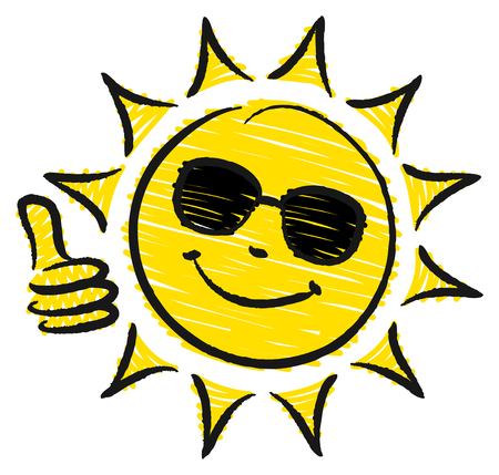 Hand Drawn Sun One Thumbs Up With Sunglasses Yellow And Black Vektorové ilustrace