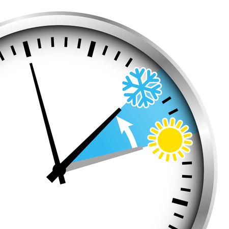 Cropped Silver Clock Winter Time Snowflake And Sun. Vektorové ilustrace