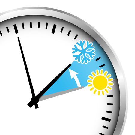 Zugeschnittene silberne Uhr Winterzeit Schneeflocke und Sonne. Vektorgrafik