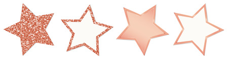 Set Of Four Copper Stars Sparkling And Shining  イラスト・ベクター素材