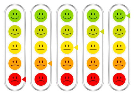 Set di cinque barometro verticale con facce che mostrano colore dell'umore e argento