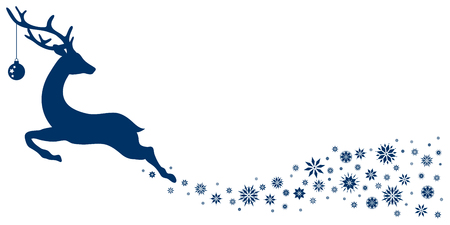 Dark Blue Flying Reindeer With Christmas Ball Looking Backwards Stars