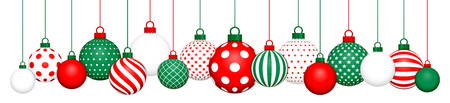 Banner Hanging Christmas Balls Pattern Red Green White Ilustração