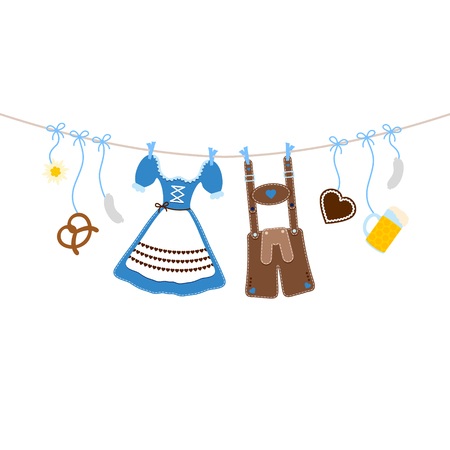 Horizontal Hanging Oktoberfest Icons On A Bent String Blue