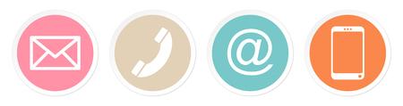 Set Of Four Buttons Contact Retro Color White Frame Banque d'images - 124612671