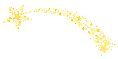 Graphic Falling Star With Tail Out Of Big And Little Stars Gold  イラスト・ベクター素材