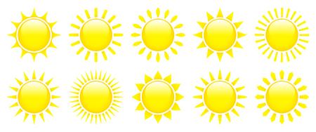 Set Of Ten Yellow Graphic Sun Icons Glossy 3D  イラスト・ベクター素材