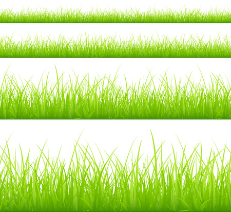 Set Of Four Green Meadows Banners Different Heigths Illustration