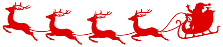 Red Christmas Sleigh Santa And Four Flying Reindeers Bent