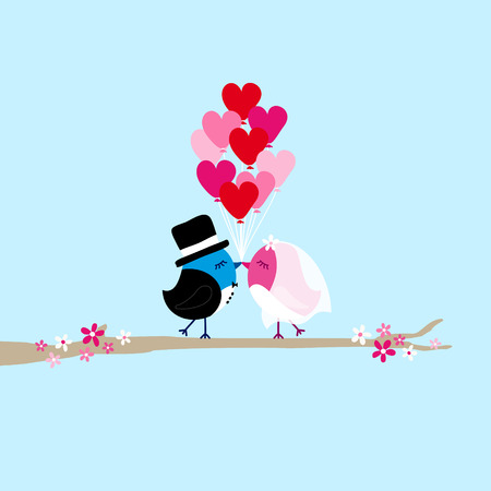 Two Birds Bride And Groom Holding Nine Heart Balloons On Tree Blue Illustration