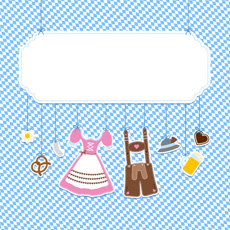 Label Octoberfest Hanging Icons And Diagonal Pattern Blue And White Çizim