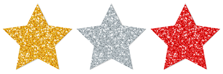 Set Of Three Straight Sparkling Stars Gold Silver Red