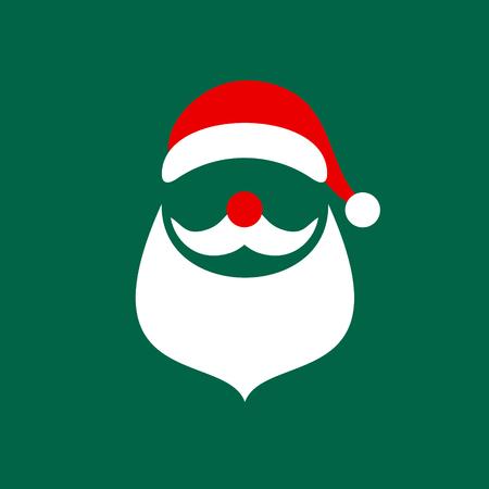 Square Christmas Card Abstract Graphic Santa Green Ilustração