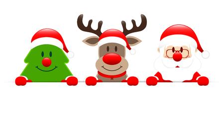 Christmas Tree Reindeer And Santa Holding Horizontal Banner